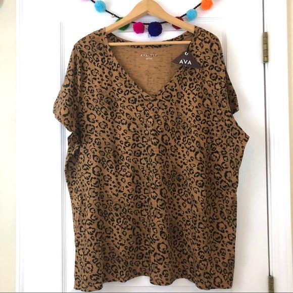 04d8396d47d Ava   Viv Plus Size Animal Print V-Neck T-Shirt